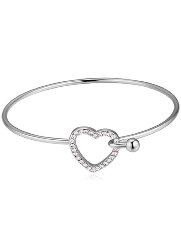 Btime Rhodium Plated Bangle with Austrian Crystal Heart