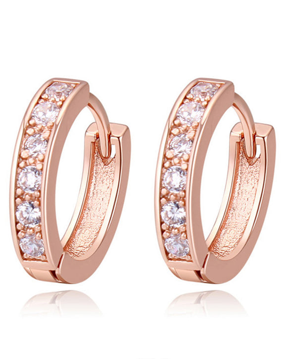 Btime Rose Gold Huggie Earrings With Clear Austrian Crystals