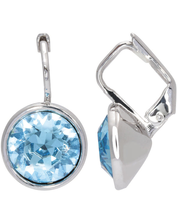 Btime Everyday Round Drop Earrings with Aquamarine Crystals