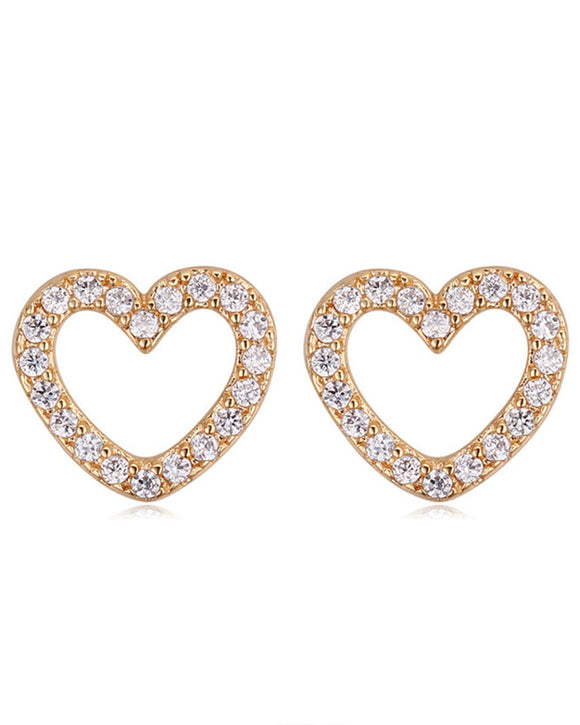 Btime Gold Power-Of-Love Crystal Heart Earrings With Swarovski Crystals