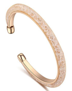 Btime Gold Mesh Bangle with Austrian Crystals