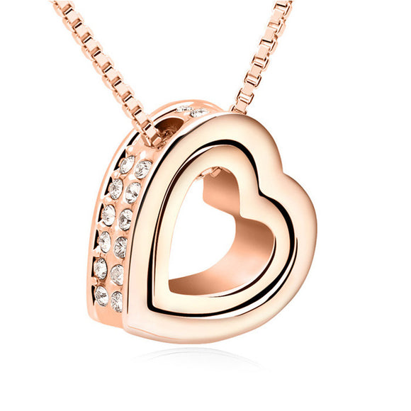 Btime Rose Gold Plated Double Heart Necklace