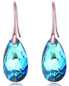 Btime Rose Gold Drop Earrings with Blue Crystal