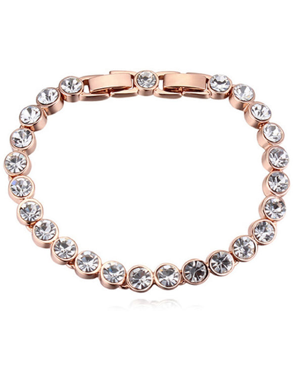 Btime Rose Gold Plated Tennis Bracelet with Round Crystals from Swarovski