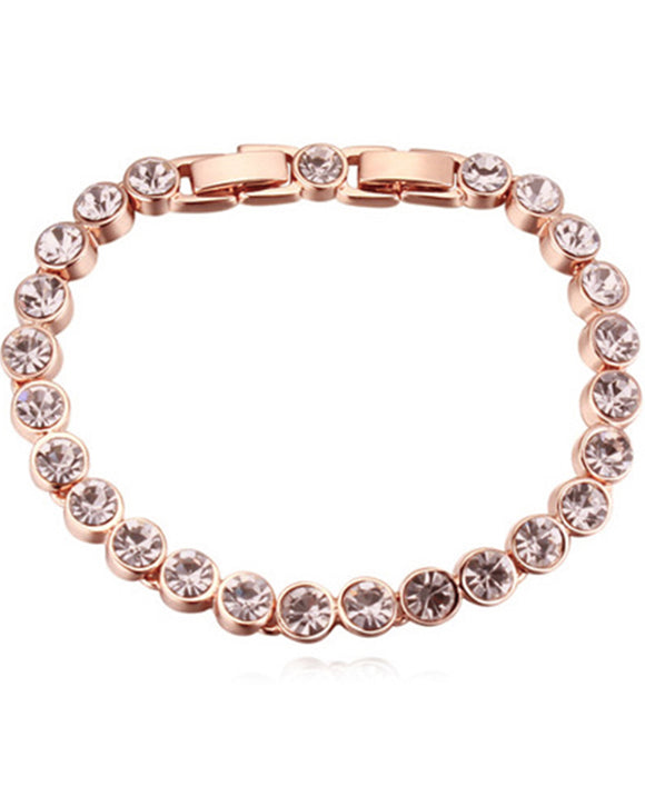 Btime Rose Gold Plated Light Peach Crystal Tennis Bracelet