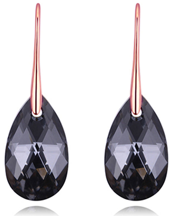Btime Rose Gold Pear Shaped Drop Earrings with Crystals from Swarovski