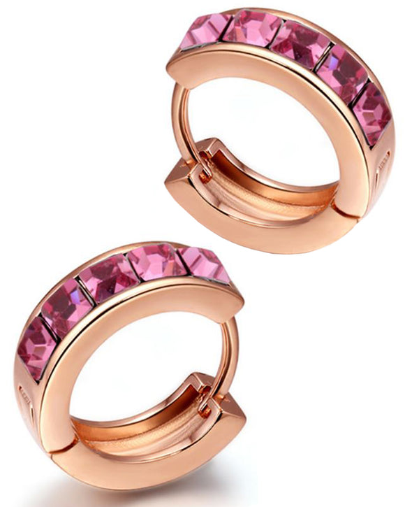 Btime Rose Gold Huggie Earrings with Rose Swarovski Crystals