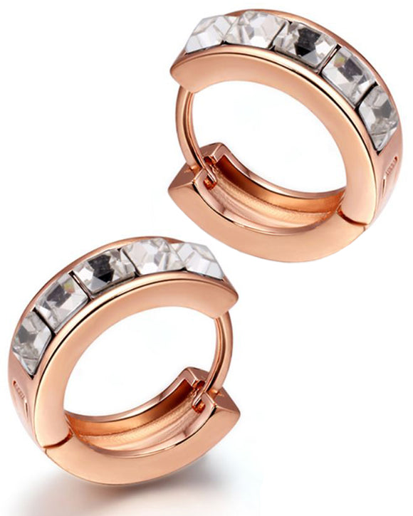 Btime Rose Gold Huggie Earrings with Clear Swarovski Crystals