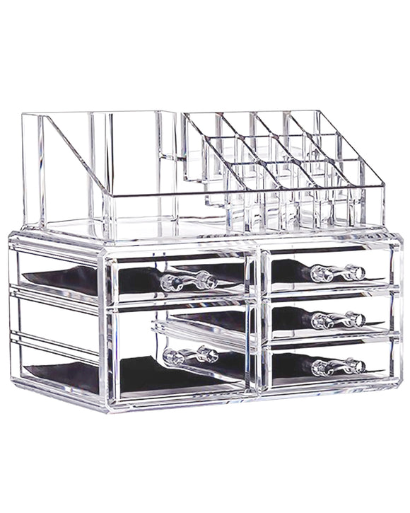 Clear Acrylic Cosmetic Storage Organizer Jewelry Display Box with 5 Drawers