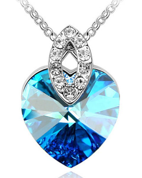 Btime Crystal Heart Pendant Marquise Bale with Crystals from Swarovski