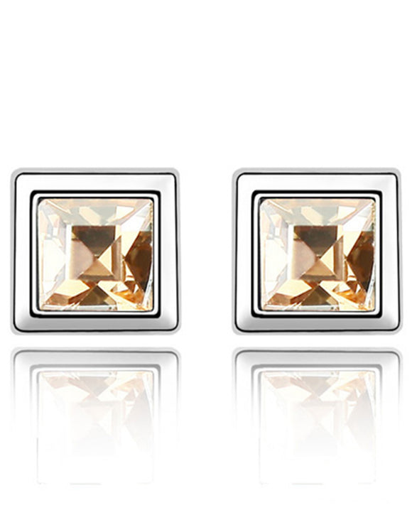 Btime Citrine Square Stud Earrings With Austrian Crystals