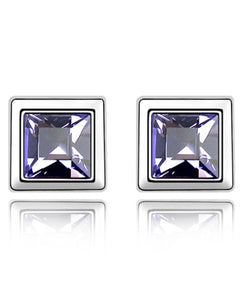 Btime Tanzanite Square Stud Earrings With Austrian Crystals