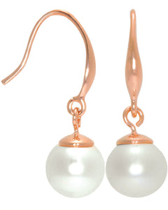 Btime Rose Gold Classic White Pearl Drop Earrings
