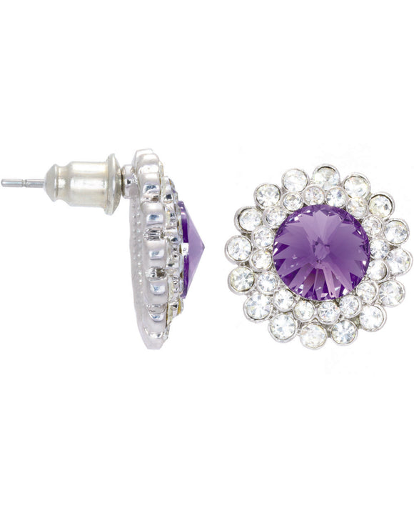 Btime Halo Earrings with Tanzanite Crystals From Swarovski