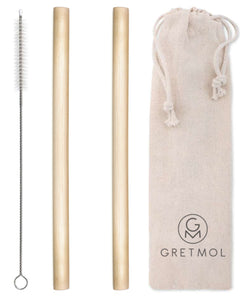 Reusable Organic Bamboo Drinking Straws Straws - Pack Of 2