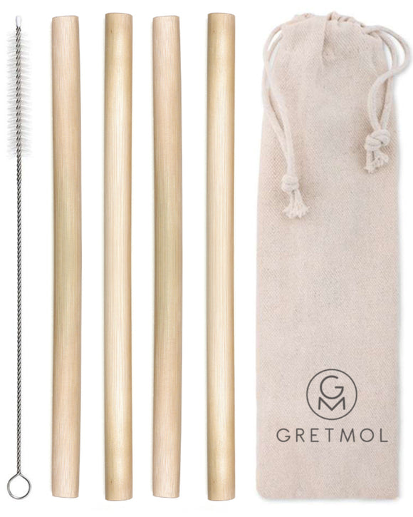 Reusable Organic Bamboo Drinking Straws Straws - Pack Of 4