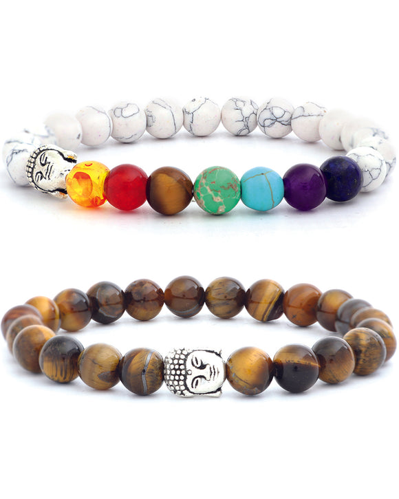 7-Crystal Healing Chakra Bracelet White & Tiger's Eye Natural Stone - 2 Set