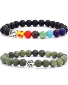 7 Chakra & Tree of Life Bracelets Green Jade & Black Natural Stone - 2 set