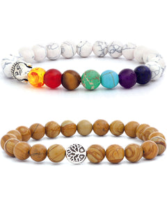 7 Chakra & Tree of Life Bracelets Jasper & White Natural Stone - 2 set