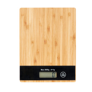 Bamboo Digital Kitchen Scale for Baking and Cooking 5kg - Black