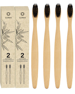 EcoWave Bamboo Toothbrushes - Pack of 4