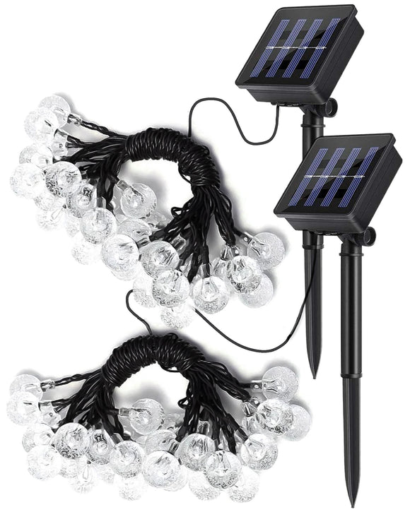 Solar Powered Outdoor Bulb String Lights LED Waterproof 6.35m Warm White - 2 Pack