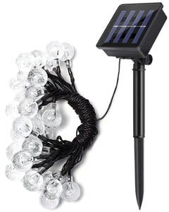 Solar Powered Outdoor Bulb String Lights LED Waterproof 6.35m - Warm White