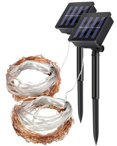 Solar Power Outdoor String Copper Wire Fairy Lights 10m Warm White - 2 Pack