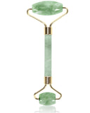 Jade Stone Facial Roller with Yellow Gold Metal