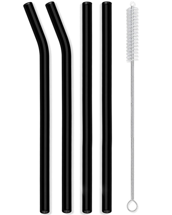 Reusable Glass Straws Straight & Bent - 4 Pack Black