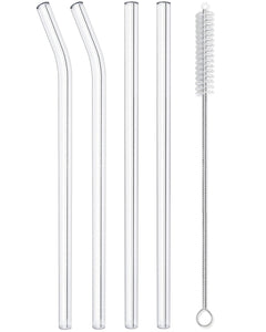 Reusable Glass Straws Straight & Bent - 4 Pack Clear