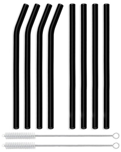Reusable Glass Straws Straight & Bent - 8 Pack Black