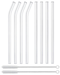 Reusable Glass Straws Straight & Bent - 8 Pack Clear