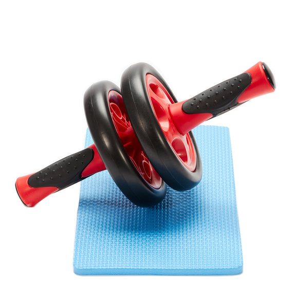 Double Wheel Ab Roller Home Fitness Exercise Equipment - Black & Red