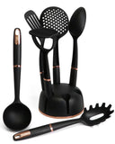 Kitchen Utensil Set of 7 Non-Stick Cooking Tools - Black & Rose Gold