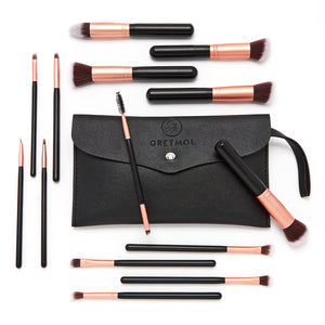 Professional 14-Piece Make Up Brush Set, Black with Black Pouch