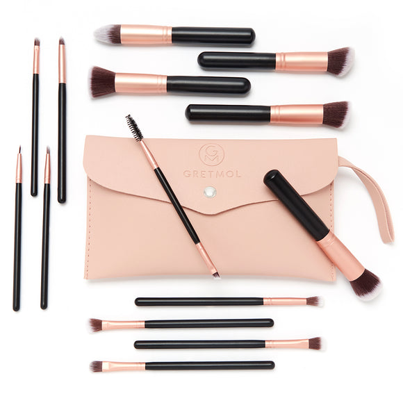 Professional 14-Piece Make Up Brush Set, Black with Pink Pouch