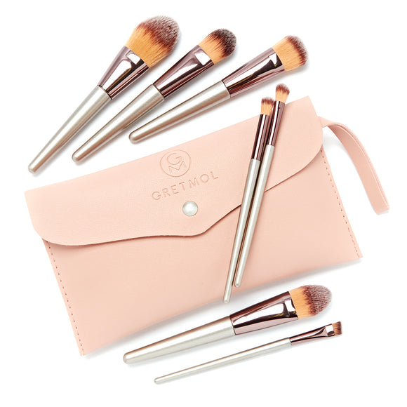 Professional 7-Piece Make Up Brush Set, Rose Gold with Pink Pouch