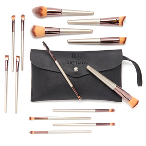 Professional 14-Piece Make Up Brush Set, Rose Gold with Black Pouch