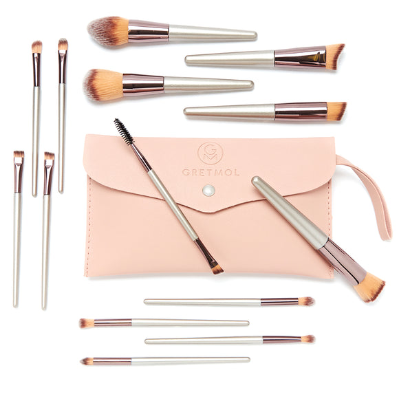 Professional 14-Piece Make Up Brush Set, Rose Gold with Pink Pouch