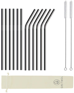 Reusable Stainless Steel Straws with Brush - 12 Pack Black
