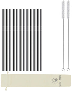 Reusable Stainless Steel Drinking Straws Straight Short - 12 Pack Black
