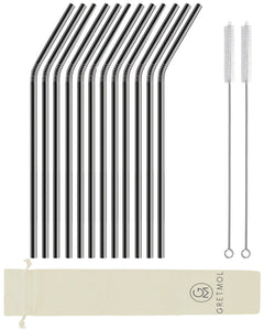 Reusable Stainless Steel Drinking Straws Curved Long - 12 Pack Black
