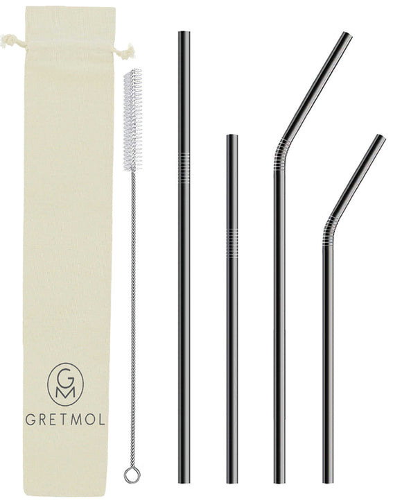 Reusable Stainless Steel Straws Combo Set with Brush - 4 Pack Black