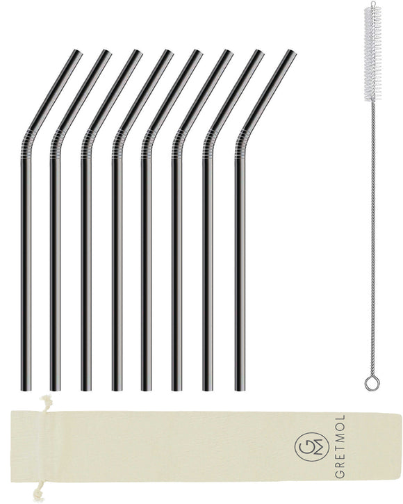 Reusable Stainless Steel Straws Bent with Brush - 8 Pack Black