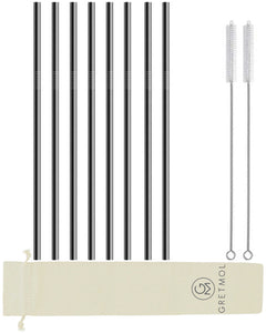 Reusable Stainless Steel Cocktail Straws - 8 Pack