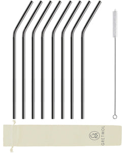 Reusable Stainless Steel Cocktail Straws Bent - 8 Pack Black