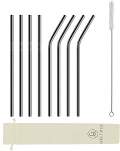 Reusable Stainless Steel Straws with Brush - 8 Pack Black
