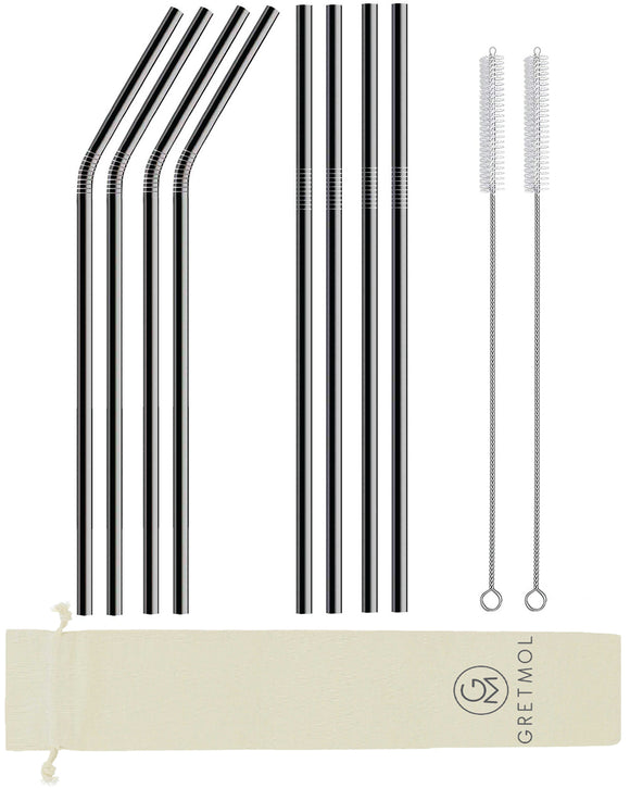 Reusable Stainless Steel Long Straws- 8 Pack Black