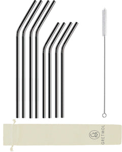 Reusable Stainless Steel Bent Straws - 8 Pack Black